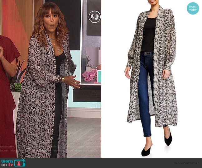 Python-Print Sheer Chiffon Kimono Jacket by Good American worn by Eve  on The Talk