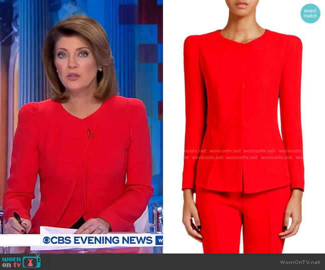 Crewneck Pleated Cady Jacket by Giorgio Armani worn by Norah O'Donnell  on CBS Evening News