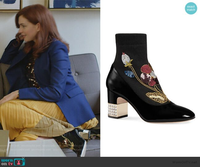 Candy Floral Embroidered Bootie by Gucci worn by Lexi (Anne Hathaway) on Modern Love