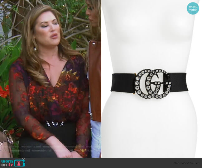 GG Marmont Crystal Buckle Stretch Belt by Gucci worn by Emily Simpson  on The Real Housewives of Orange County