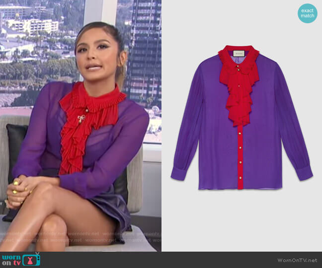 Silk Ruffle Front Shirt by Gucci worn by Erin Lim  on E! News
