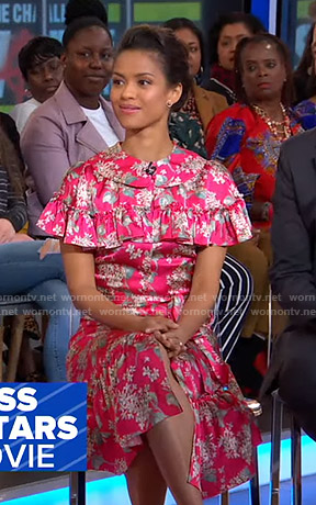 Gugu Mbatha-Raw's pink floral midi dress on Good Morning America