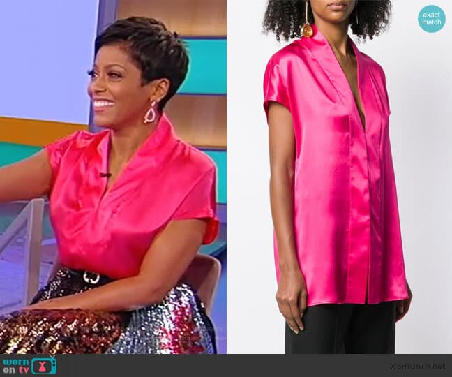 V-Neck Blouse by Haider Ackermann worn by Tamron Hall  on Tamron Hall Show