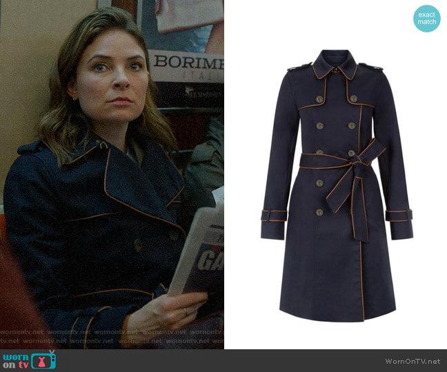 Hobbs London Imogen Piped Trench Coat worn by Taylor Rentzel (MacKenzie Meehan) on Bull