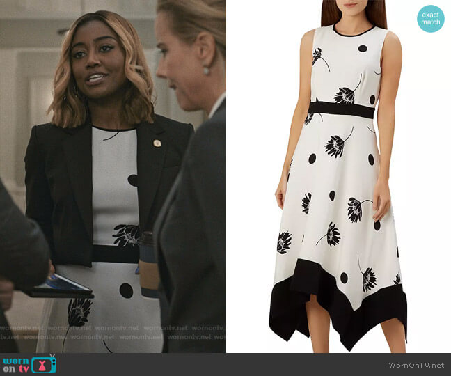 Lucie Sleeveless Floral-and-Dot Midi Dress by Hobbs London worn by Daisy Grant (Patina Miller) on Madam Secretary