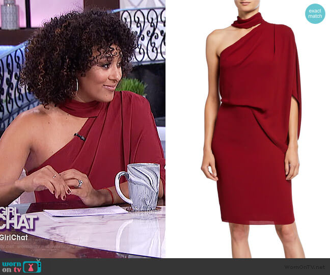 Wrap Neck Asymmetrical Drape Dress by Halston worn by Tamera Mowry  on The Real
