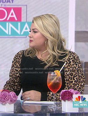Heather McMahan's black leopard sleeve sweater on Today