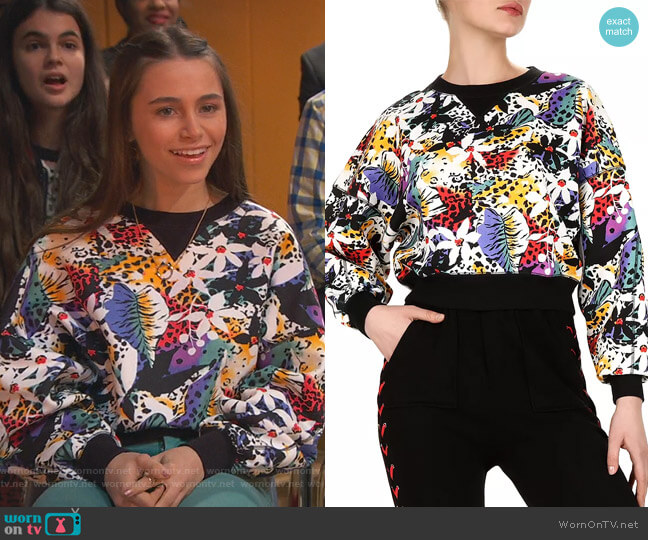 Honolulu Floral-Print Sweatshirt by The Kooples worn by Tess O'Malley (Sky Katz) on Ravens Home