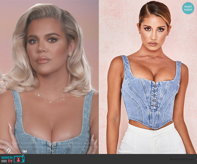 Denim Cropped Corset by House of CB worn by Khloe Kardashian  on Keeping Up with the Kardashians