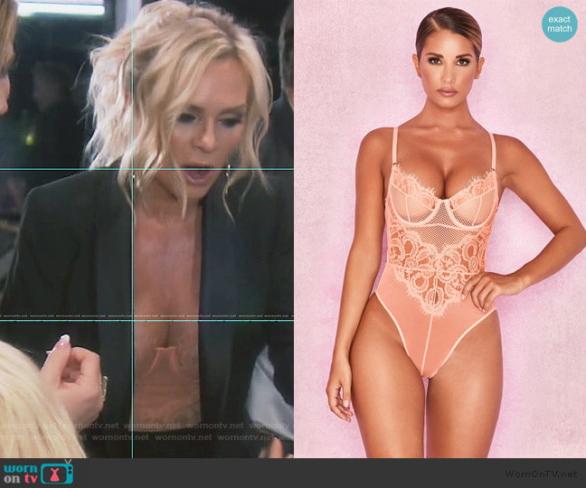 Nadia Peach Lace Bodysuit by House of CB worn by Tamra Judge  on The Real Housewives of Orange County