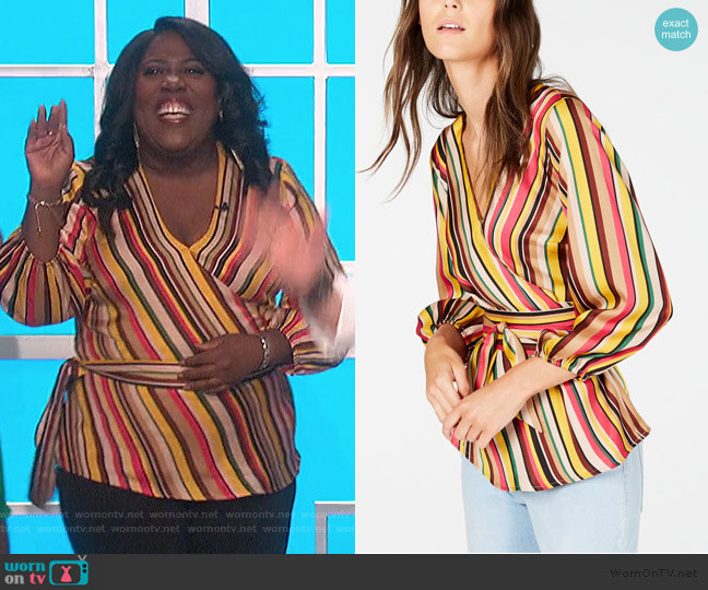 Striped Wrap Top by INC International Concepts worn by Sheryl Underwood  on The Talk