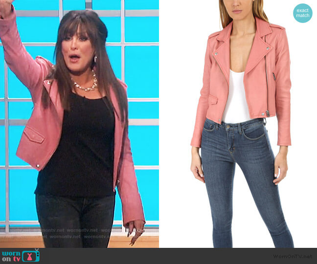 Ashville Leather Jacket in Blush Lurex by IRO worn by Marie Osmond  on The Talk