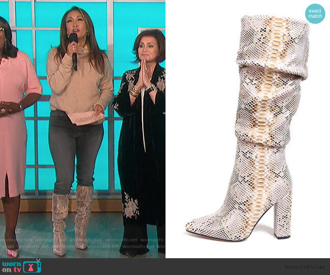 Snakeskin Boots Mid-Calf Boots by ISNOM worn by Carrie Inaba  on The Talk