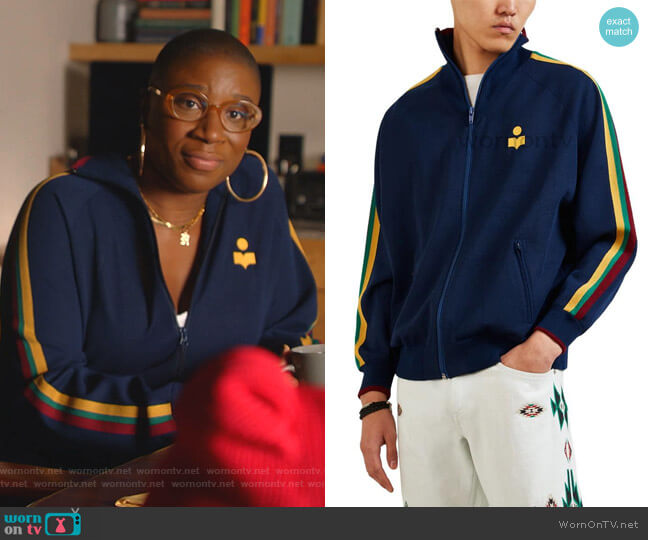Striped Track Jacket by Isabel Marant worn by Henrietta Wilson (Aisha Hinds) on 9-1-1
