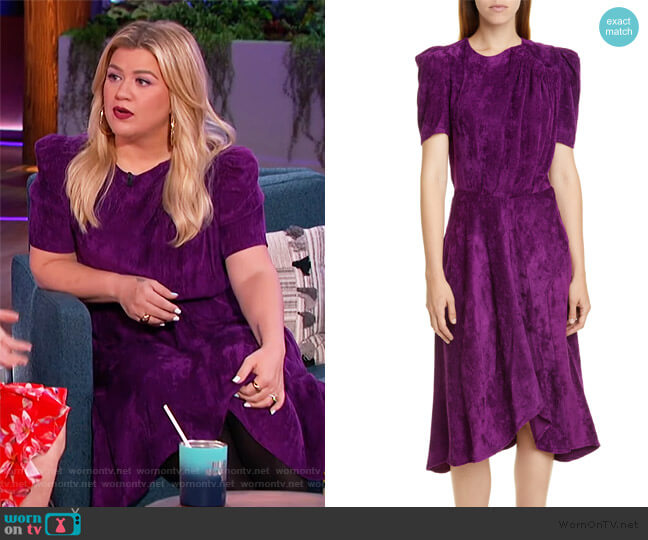 Puff Sleeve Corduroy Dress by Isabel Marant worn by Kelly Clarkson  on The Kelly Clarkson Show