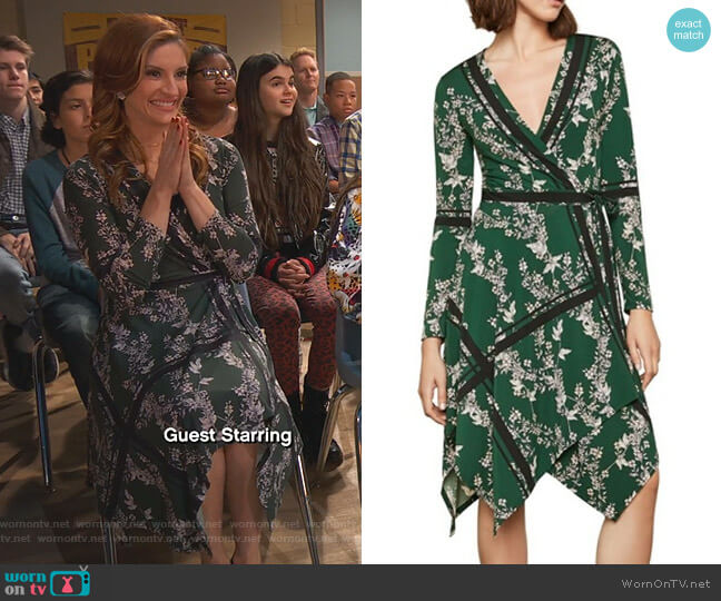 Isabella Floral Wrap Dress by Bcbgmaxazria worn by Chelsea Grayson (Anneliese van der Pol) on Ravens Home