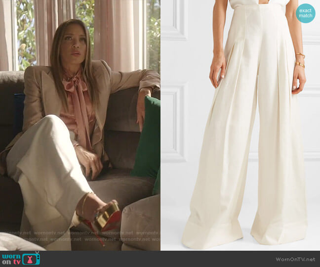 Arcello Pleated Wide-Leg Pants by Jacquemus worn by Dominique Deveraux (Michael Michele) on Dynasty