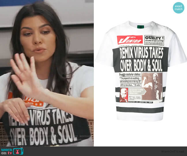 NewsPaper Print Tee by Jean Paul Gaultier worn by Kourtney Kardashian  on Keeping Up with the Kardashians