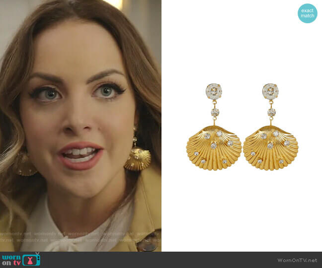 Gold-Tone Coquina Crystal Shell Drop Earrings by Jennifer Behr worn by Fallon Carrington (Elizabeth Gillies) on Dynasty