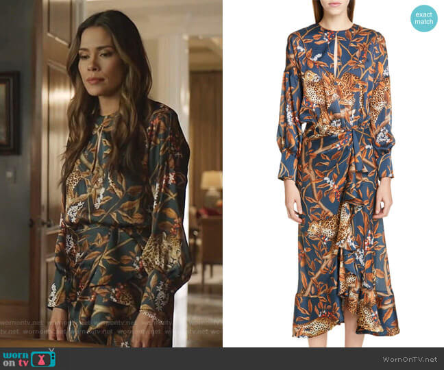 Jaguar Print Georgette Midi Dress by Johanna Ortiz worn by Cristal Jennings (Daniella Alonso) on Dynasty
