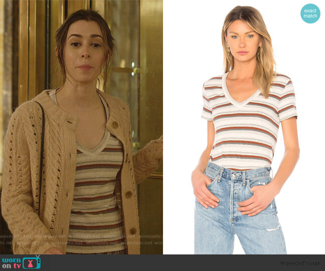 Stripe Tee by James Perse worn by Maggie Mitchell (Cristin Milioti) on Modern Love