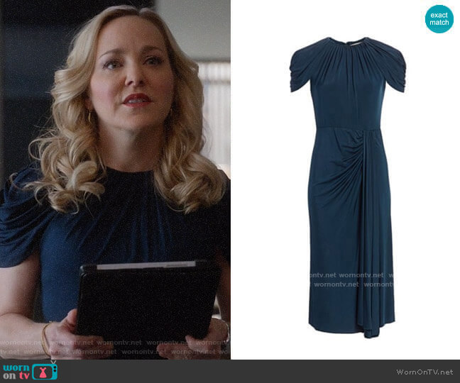 Jason Wu Collection Ruched Jersey Midi Dress  worn by Marissa Morgan (Geneva Carr) on Bull