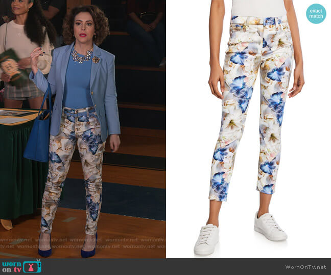 Floral-Print Cropped Ankle Skinny Jeans by Jen7 by 7 for All Mankind worn by Coralee Armstrong (Alyssa Milano) on Insatiable