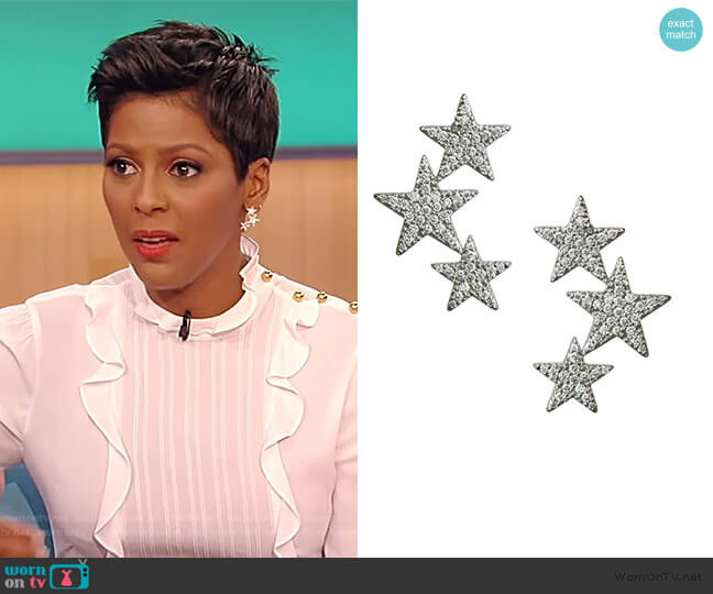 Star Cluster Earrings by Jennifer Miller worn by Tamron Hall  on Tamron Hall Show