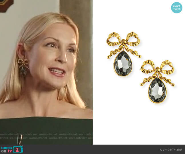 Kira Bow Drop Earrings by Jennifer Behr worn by Melissa Daniels (Kelly Rutherford) on Dynasty