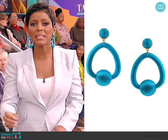 Blue Oval Ball Earrings by Jennifer Miller worn by Tamron Hall  on Tamron Hall Show