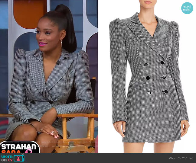 Checkered Tuxedo Dress by Jill Jill Stuart worn by Keke Palmer  on Good Morning America