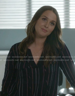 Jo's black striped v-neck blouse on Greys Anatomy