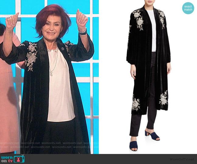 Santal Velvet Kimono Coat by Johnny Was worn by Sharon Osbourne  on The Talk