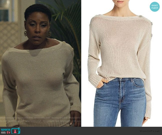 Burrell Button-Detail Sweater by Joie worn by Lynn Stewart (Christine Adams) on Black Lightning