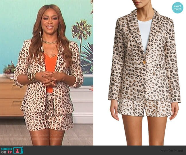 Anilah Leopard-Print Linen Blazer and Shortsby Joie worn by Eve  on The Talk