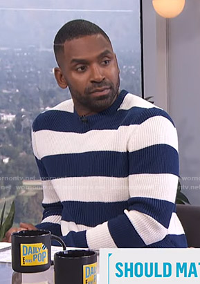 Justin's blue and white striped sweater on E! News Daily Pop