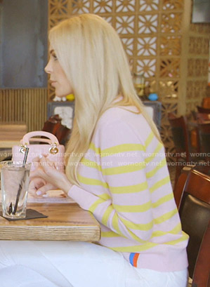 Kameron's pink and yellow striped sweater on The Real Housewives of Dallas