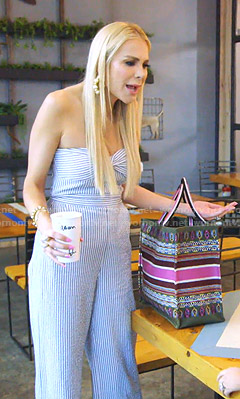 Kameron's striped strapless jumpsuit on The Real Housewives of Dallas