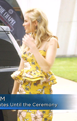 Kameron's yellow floral peplum top and skirt on The Real Housewives of Dallas