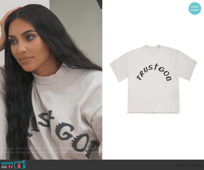 Trust God Tee by Kanye West worn by Kim Kardashian  on Keeping Up with the Kardashians