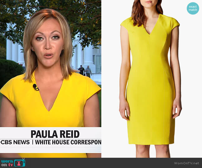V-Neck Pencil Dress by Karen Millen worn by Paula Reid on CBS This Morning