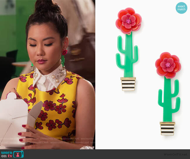 Scenic Route Cactus Statement Earrings by Kate Spade worn by Dixie Sinclair (Irene Choi) on Insatiable
