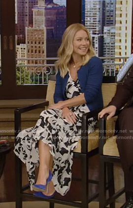 Kelly's abstract print midi dress on Live with Kelly and Ryan