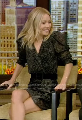Kelly's black dotted ruffled mini dress on Live with Kelly and Ryan