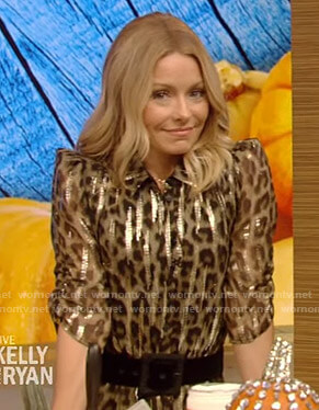 Kelly's metallic leopard print shirtdress on Live with Kelly and Ryan