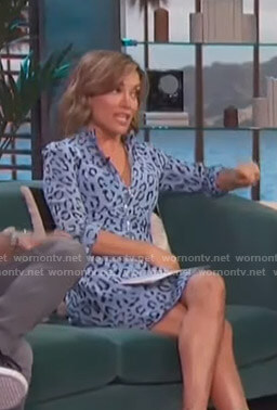 Kit's blue leopard print dress on Access Hollywood