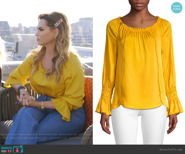 Sierra Stretch Silk Georgette Blouse by Sierra Stretch Silk Georgette Blouse by Kobi Halperin worn by D'Andra Simmons  on The Real Housewives of Dallas