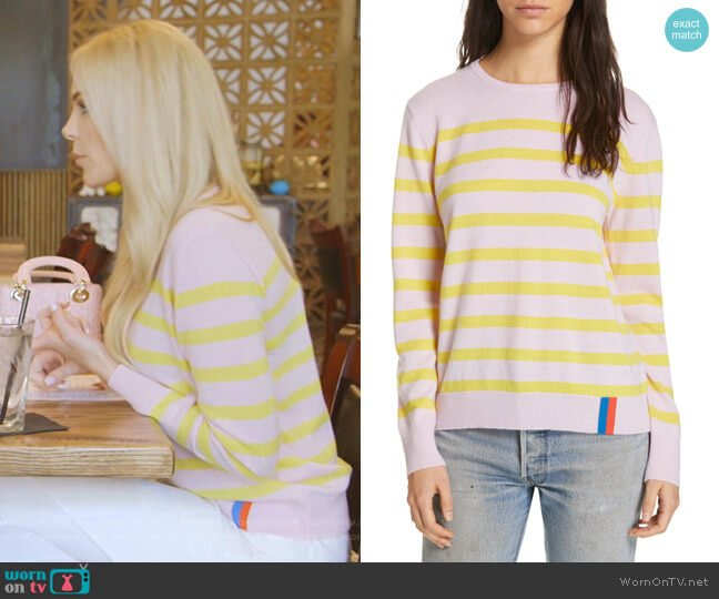 The Skate Stripe Cashmere Sweater by Kule worn by Kameron Westcott  on The Real Housewives of Dallas