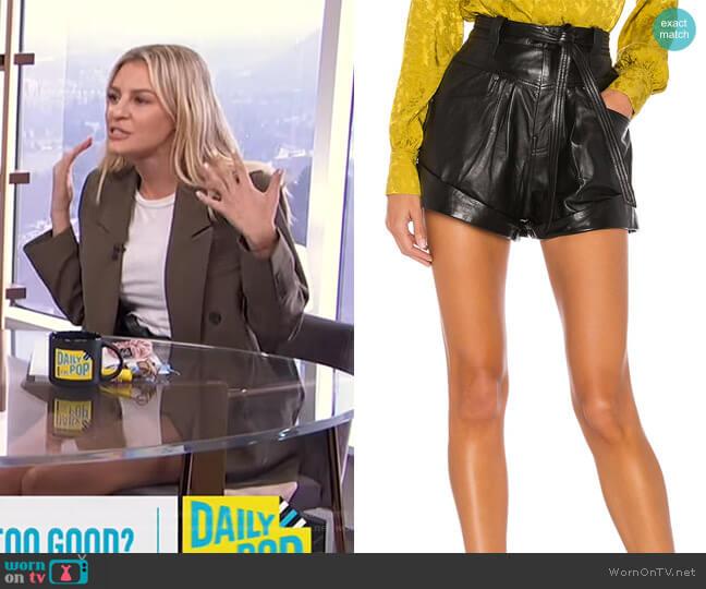 Savon Leather Shorts by L'Academie worn by Morgan Stewart  on E! News