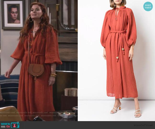Poet Maxi Dress by Lisa Marie Fernandez worn by Grace Adler (Debra Messing) on Will & Grace